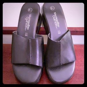 Montego Bay Club Black Slip On  Sandel Size 8 1/2